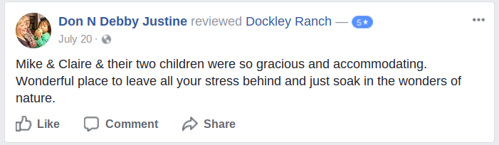 Dockley Ranch five star Facebook review Missouri Ozarks events and lodging